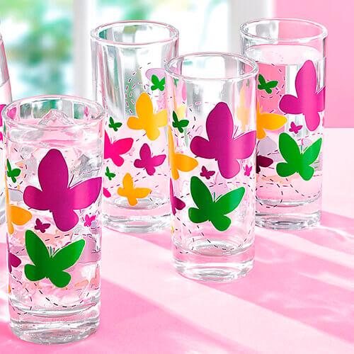 Vasos Vidrio Decorado Mariposas